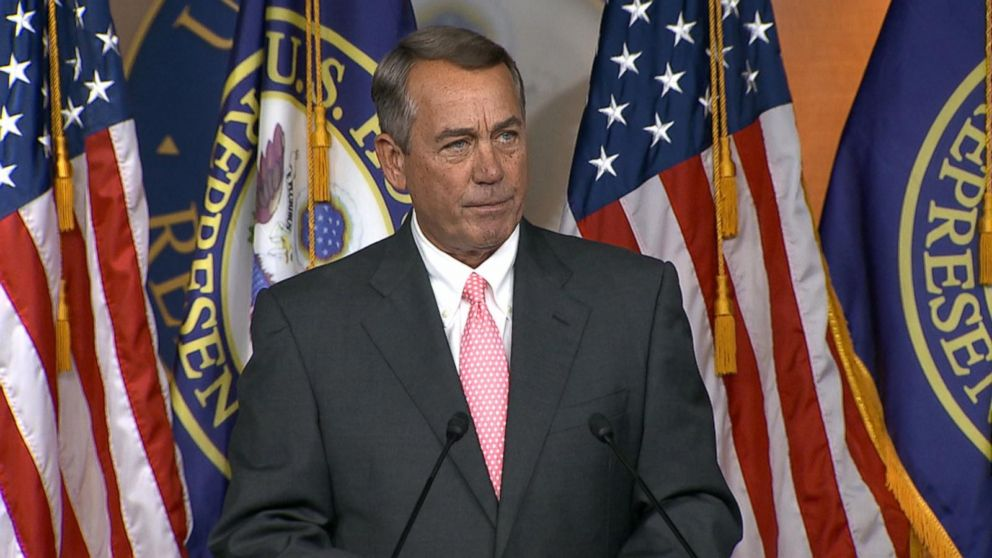 John Boehner speaks at a press conference about his resignation.