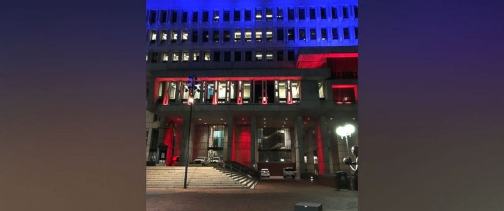 PHOTO: Boston City Hall was bathed in red, white and blue on January 25, 2017.