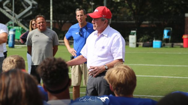 Bush gives pep talk to SMU football players from Houston: 'The days are dark now but they're going to get better'