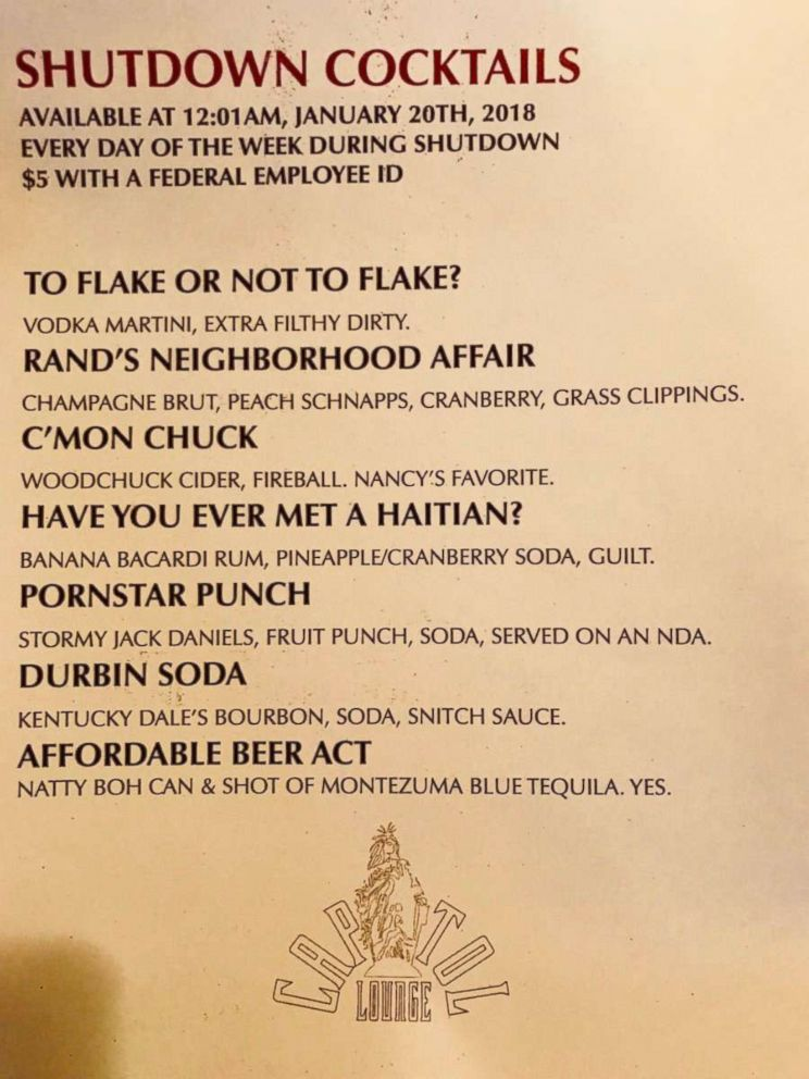 PHOTO: Capitol Lounge in Washington, D.C., is offering a special menu to furloughed federal employee for the duration of the government shutdown. The menu was effective Jan. 20, 2018 at 12:01 a.m.