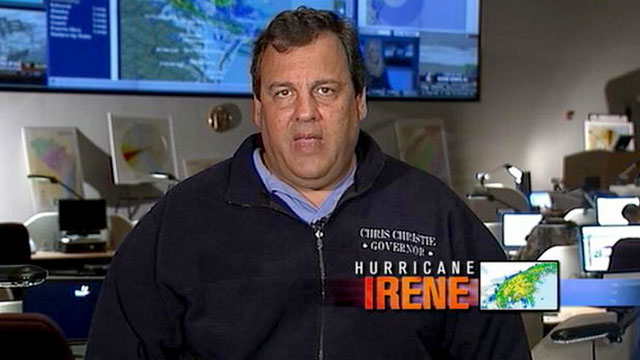 """PHOTO:As Hurricane Irene hits the Northeast, New Jersey Governor Chris Christie is interviewed on """"This Week."""""""