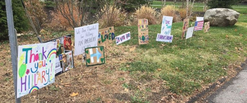 "PHOTO: Hillary Clinton tweeted this photo on November 24, 2016, writing, ""I was greeted by this heartwarming display on the corner of my street today. Thank you to all of you who did this. Happy Thanksgiving. -H"""