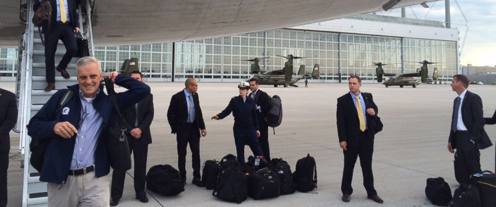PHOTO:White House Chief of Staff Denis McDonough exits Air Force One in Munich, Germany on June 7, 2015.