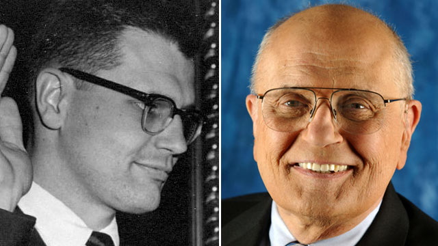 PHOTO: Congressman John D. Dingell in 1955, left, and now.