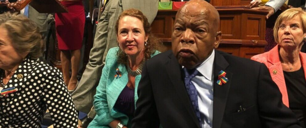PHOTO: Representatives Elizabeth Esty and John Lewis participate in a House Democrat sit-in staged to protest inaction on gun votes in Washington, June 22, 2016.