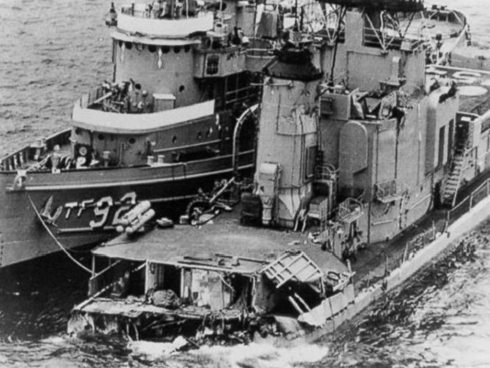 PHOTO: The remaining portion of the USS Frank E. Evans after its collision with an Australian Aircraft carrier in June 1969.