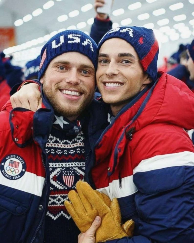 U.S. Winter Olympian Gus Kenworthy (left) posted this photo of himself with fellow openly gay Olympian Adam Rippon in South Korea on Feb. 9, 2018.
