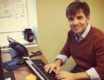 PHOTO:George Stephanopoulos preparing for his first Facebook chat.