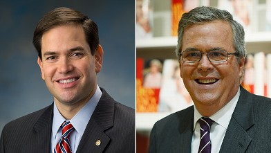 "PHOTO: Marco Rubio, left, and Jeb Bush, right, will appear on ""This Week""."