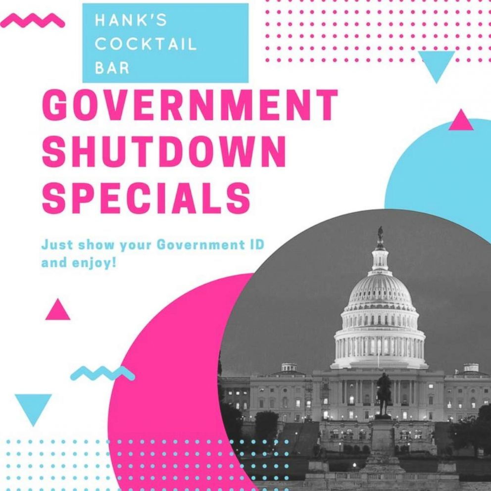 PHOTO: Hanks Cocktail Bar in Washington, D.C., is offering discounted drinks to furloughed federal employees for the duration of the government shutdown, which went into effect on Jan. 20, 2018 at 12:01 a.m.