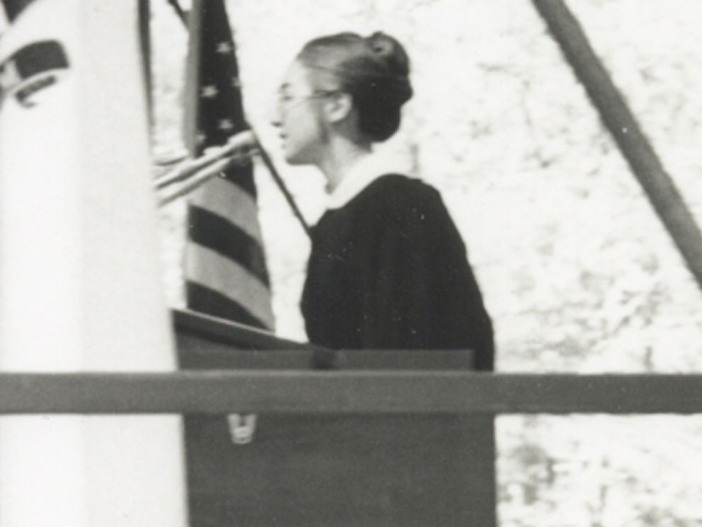 PHOTO: Hillary Clinton delivers the student commencement speech at Wellesley College in 1969.