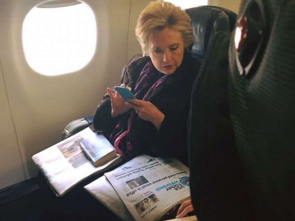 PHOTO: Hillary Clinton was photographed on March 3, 2017, by a fellow passenger on a Boston to New York flight, reading a USA Today cover story about Mike Pences use of personal email while governor of Indiana.