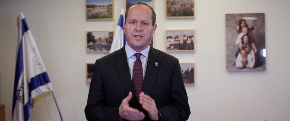 PHOTO: Jerusalem mayor Nir Barkat, in a video he posted on the even of Donald Trumps inauguration.