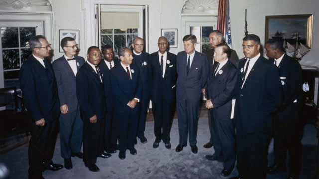 """PHOTO: Organizers of """"The March on Washington for Jobs and Freedom,"""" including Martin Luther King Jr. and John Lewis, meet with President Kennedy and Vice President Lyndon Johnson in the Oval Office on Aug. 28, 1963."""