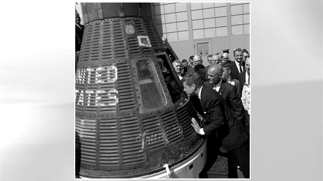 PHOTO: President Kennedy and Col. John Glenn inspect the Friendship 7 Mercury Capsule at Cape Canaveral, Fla., on Feb. 23, 1962.