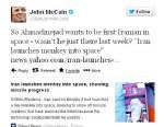 PHOTO: Sen. John Mccain tweeted a controversial message about Iranian President Mahmoud Ahmadinejad.
