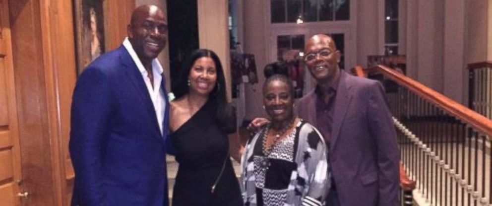 PHOTO: Magic Johnsons wife, Cookie, posted this photo on Instagram of the couple with actor Samuel L. Jackson and LaTanya Richardson at President Obamas 55th birthday party on August 5, 2016.