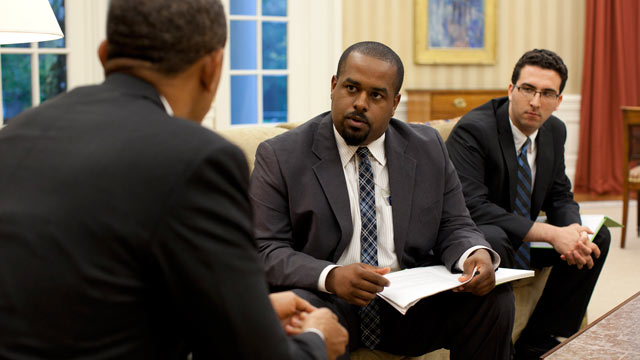 PHOTO: Joshua DuBois, former director of the White House Office of Faith-Based and Neighborhood Partnerships, was informally the pastor to the president. Hes seen here in the Oval Office with President Obama.