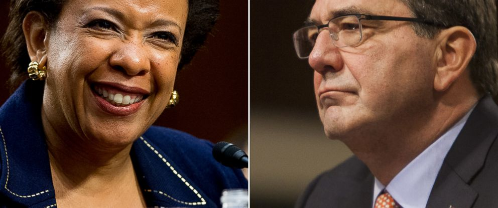 PHOTO: U.S. Attorney General nominee Loretta Lynch testifies during her confirmation hearing on Jan. 28, 2015, left, while Dr. Ashton Carter, right, during the hearing for his nomination as Secretary of Defense on Feb. 4, 2015, Washington.