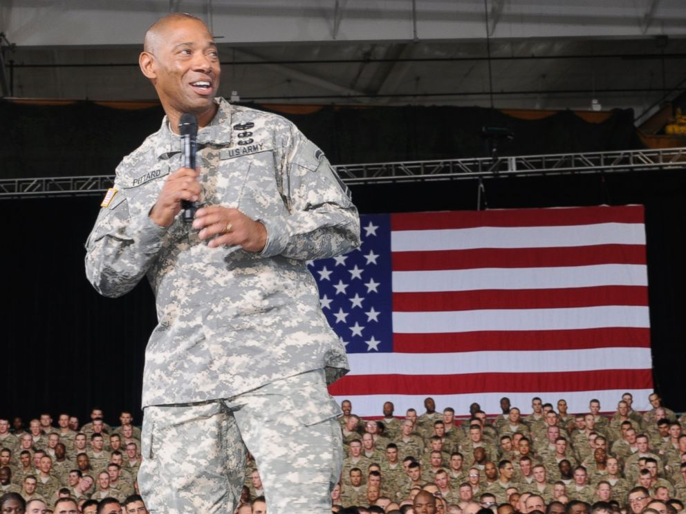 PHOTO: Army Major General Dana Pittard speaks during an event at Fort Bliss, Texas, Aug. 31, 2012.