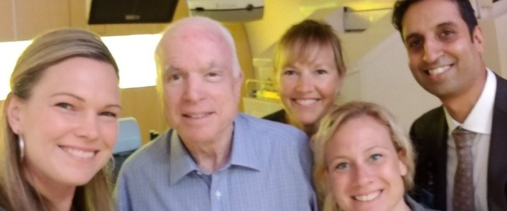 PHOTO: Sen. John McCain, R-Ariz., tweeted this photo on August 18, 2017, at the Mayo Clinic in Phoenix with staffers from the facility.