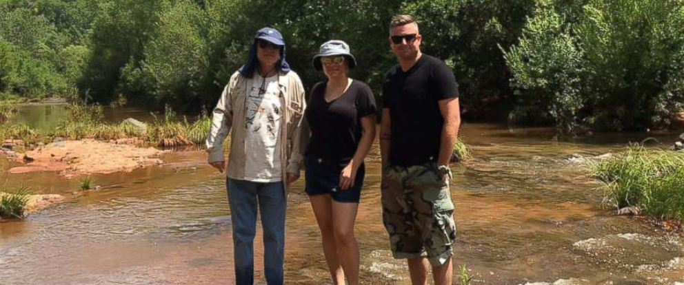 PHOTO: Meghan McCain is flanked by her father Sen. John McCain, R-Ariz., and brother Jimmy McCain in Arizonas Oak Creek Canyon on August 13, 2017.