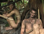 """PHOTO: Kim and Shane rest in a shelter they built on Discoverys """"Naked and Afraid."""""""