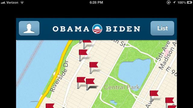 PHOTO: Micro-targeting is a strategy used by both campaigns to help them find exactly the voters they need to reach. Here, the Obama campaign app filters data in order to show volunteers exactly which doors in their neighborhood they should knock on to fi
