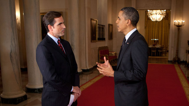 PHOTO: President Barack Obama participates in an interview with Bob Woodruff in the Cross Hall and the East Room of the White House, Feb. 29, 2012.