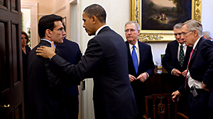 PHOTO President Barack Obama talks with Rep. Eric Cantor, R-VA, Republican Whip, at the conclusion of a meeting with bipartisan Congressional leadership in the Presidents Private Dining Room, Nov. 30, 2010.
