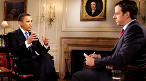 PHOTO President Barack Obama is interviewed by Jake Tapper, Senior White House Correspondent for ABC News, in the Map Room of the White House, Nov. 9, 2009.