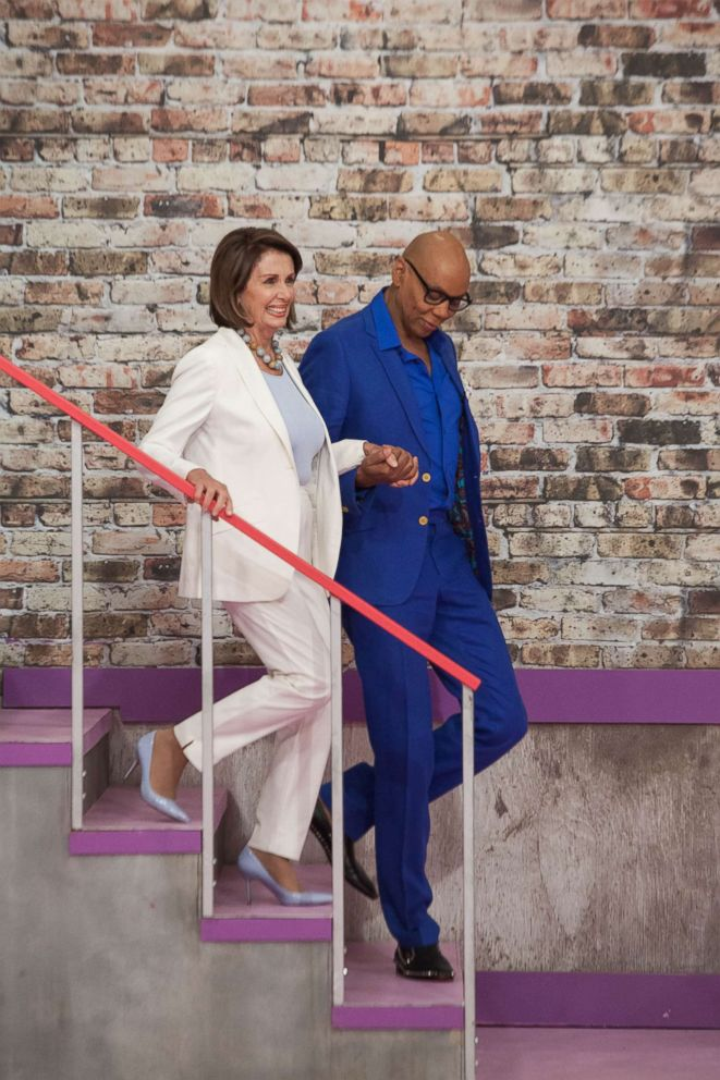 PHOTO: House Democratic leader Nancy Pelosi with RuPaul on the March 8, 2018 episode of VH1s RuPauls Drag Race All Stars.