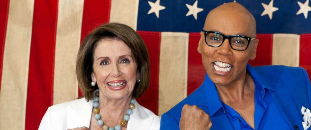 "PHOTO: House Democratic leader Nancy Pelosi with RuPaul on the March 8, 2018 episode of VH1s ""RuPauls Drag Race All Stars."""
