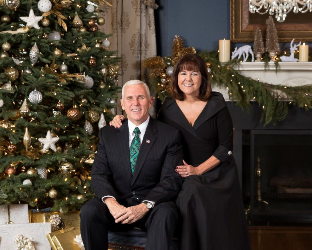 PHOTO: Vice president Mike Pence and second lady Karen Pence in their official 2017 Christmas portrait, taken December 9, 2017 and released December 15, 2017, at the at the Vice Presidents Residence at the Naval Observatory in Washington, DC.