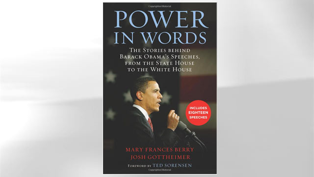 "PHOTO: The cover of Josh Gottheimer's and Mary Frances Berry's book ""Power in Words: The Stories behind Barack Obama's Speeches,"" is shown here."