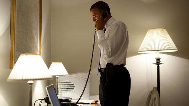 PHOTO:President Obama talks on the phone with Missouri Governor Jay Nixon, during his visit to Dublin, Ireland, May 23, 2011.