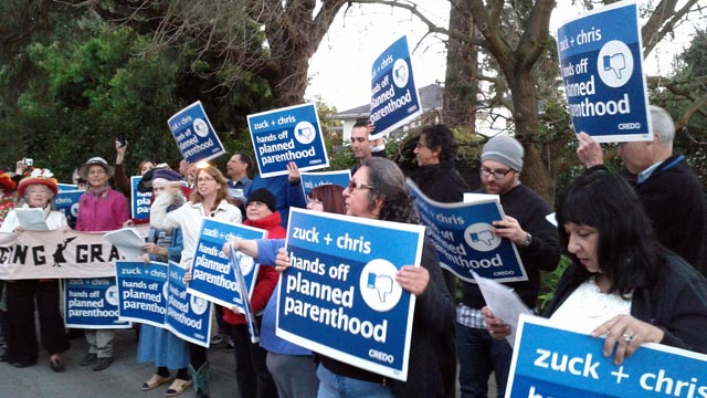 PHOTO: CREDO Action members protest Mark Zuckerberg's fundraiser for New Jersey Gov. Chris Christie, Feb. 13, 2013.