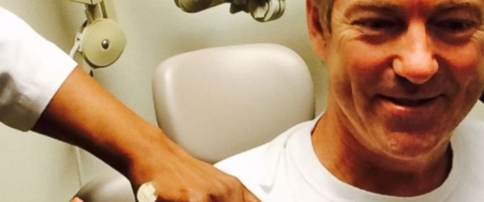 "PHOTO: Sen. Rand Paul receives a shot in a photo posted to his Twitter account on Feb. 3, 2015 with the text, ""Ironic: Today I am getting my booster vaccine. Wonder how the liberal media will misreport this?"""