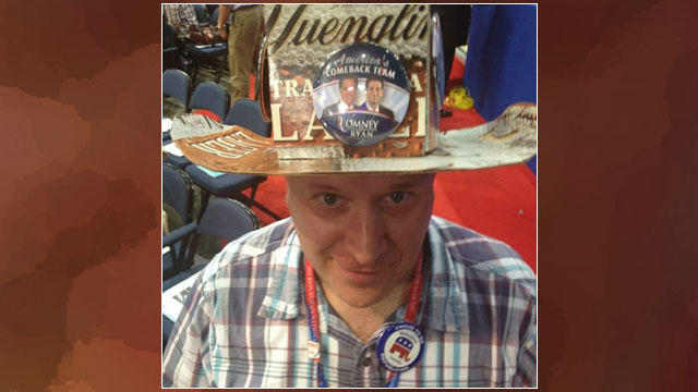 PHOTO: This might be the coolest hat on the convention floor. I wonder where the beer went? #2012GOP
