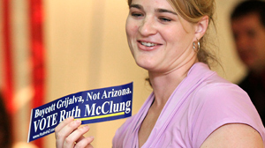 PHOTO Arizona congressional candidate Ruth McClung speaks to the UAs College Republicans chapter, in this Sept. 7, 2010 file photo, in the SUMCs Kiva Room.