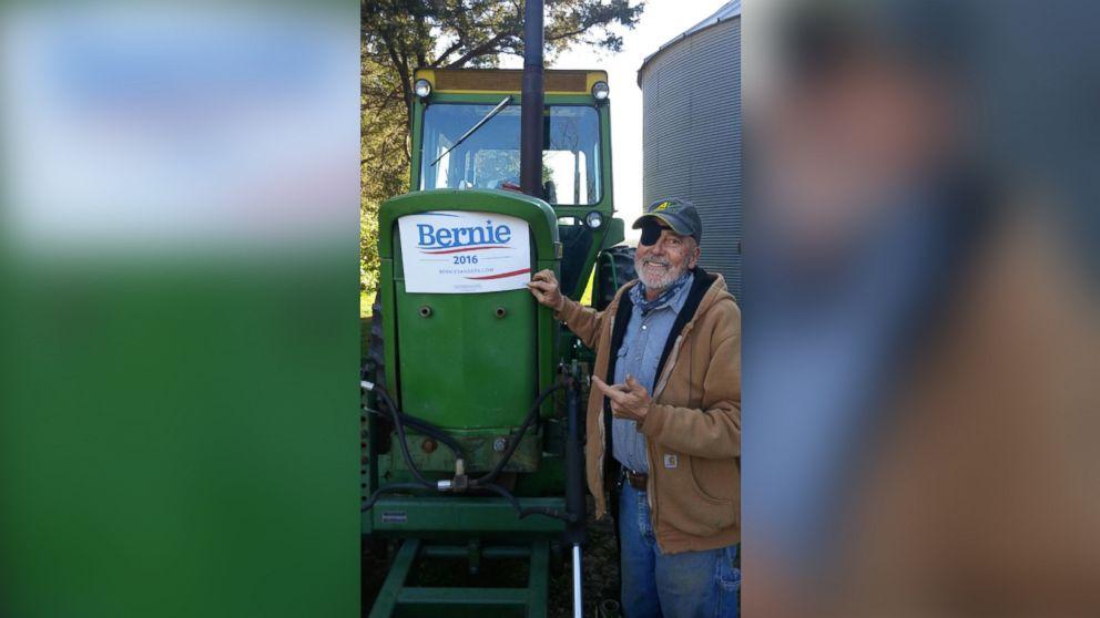 "Mike Pattavina plowed a ""Bernie"" sign in his Iowa soybean field."