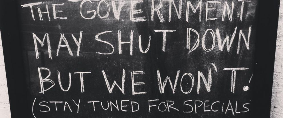 PHOTO: A sign at Union Pub in Washington, D.C. advertises drink specials following the government shutdown on Jan. 20, 2018.