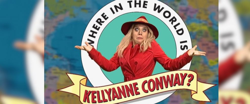 """PHOTO: The May 4, 2017 episode of """"Saturday Night Live"""" featured the sketch, """"Where in the World is Kellyanne Conway?"""""""