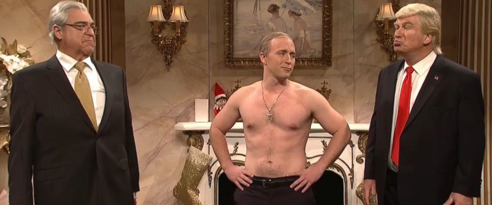 "PHOTO: On the December 17, 2016, episode of ""Saturday Night Live,"" John Goodman (left) plays Donald Trumps pick for Secretary of State Rex Tillerson; cast member Beck Bennett (center) plays Vladimir Putin; and Alec Baldwin (right) plays Donald Trump."
