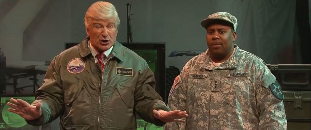 "PHOTO: Alec Baldwin spoofs President Donald Trump in the March 11, 2017, episode of ""Saturday Night Live,"" alongside cast member Kenan Thompson."