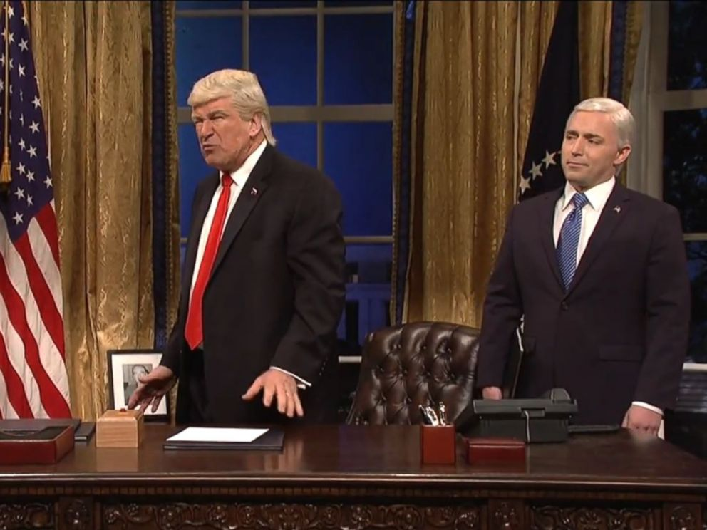 PHOTO: Alec Baldwin, portraying Donald Trump, is flanked by Saturday Night Live cast member Beck Bennett as Mike Pence, and the Grim Reaper, who is supposed to be White House chief strategist Steve Bannon, on Saturday Night Live on April 15, 2017.