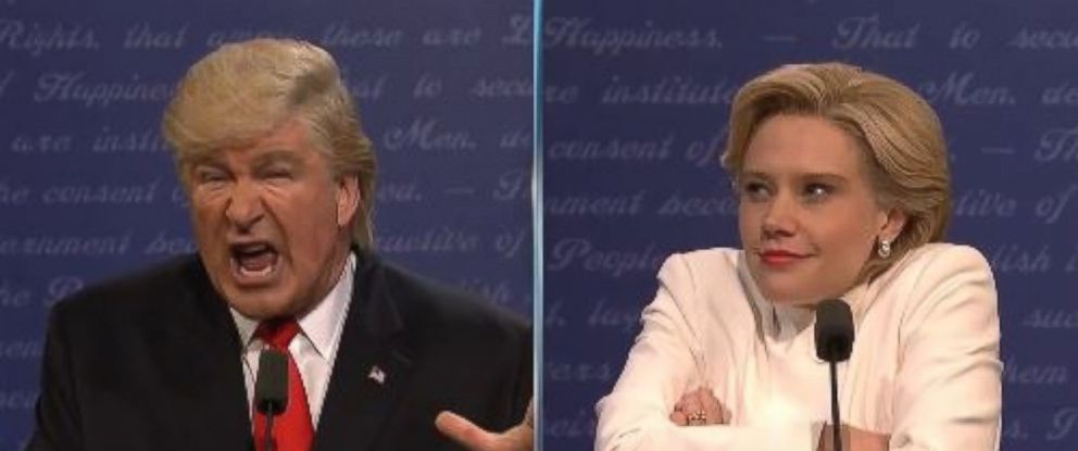 "PHOTO: Alec Baldwin as Donald Trump and ""Saturday Night Live"" cast member Kate McKinnon as Hillary Clinton spoof the presidential candidates during the third debate, during the Oct. 22 episode of ""SNL."""