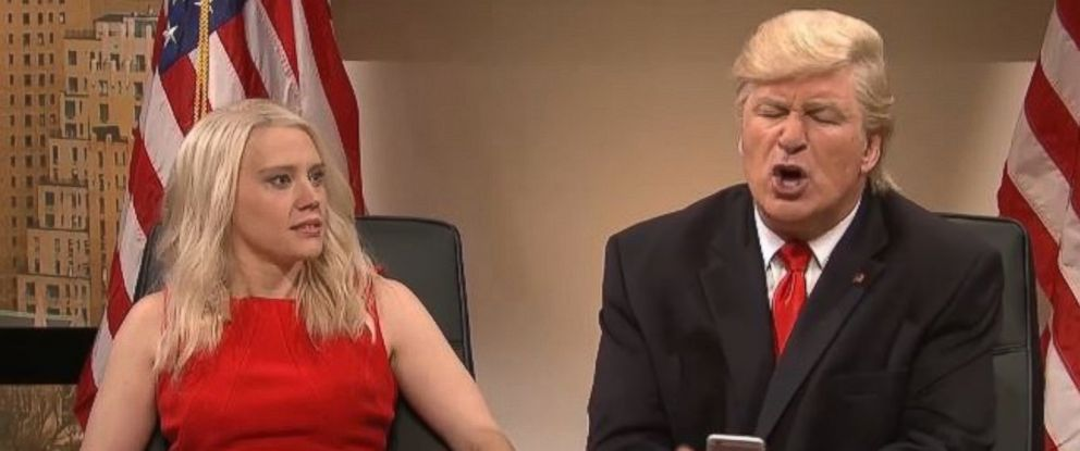 "PHOTO: ""Saturday Night Live"" cast member Kate McKinnon as Kellyanne Conway, and Alec Baldwin as Donald Trump, in the cold open of the Dec. 3, 2016 episode of ""SNL."""