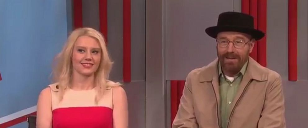 """PHOTO: """"Saturday Night Live"""" cast member Kate McKinnon as Donald Trump senior adviser Kellyanne Conway and actor Bryan Cranston as his """"Breaking Bad"""" character Walter White, on the December 10, 2016 episode of """"Saturday Night Live."""""""