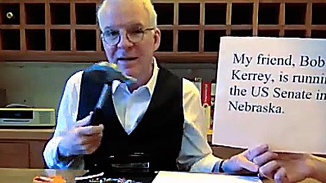 PHOTO:Steve Martin endorses Bob Kerrey in this YouTube clip.